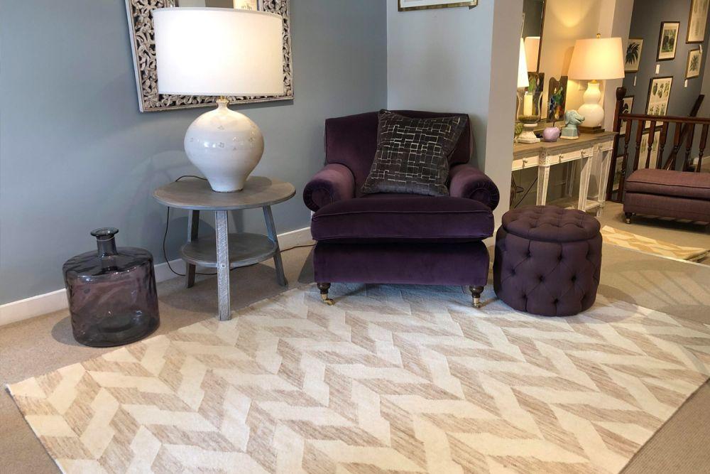 geometric rug in living room