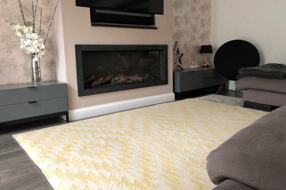 yellow geometric rug in living room