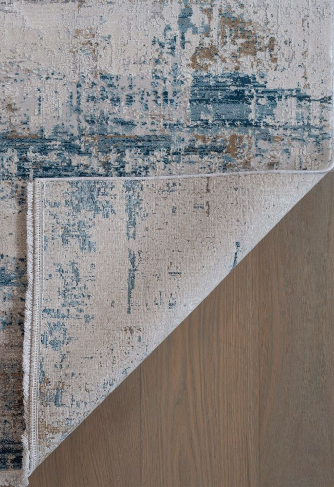 blue abstract rug corner image