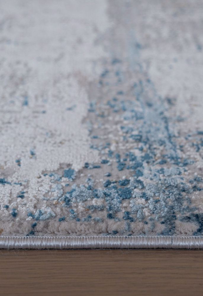 blue abstract rug side view