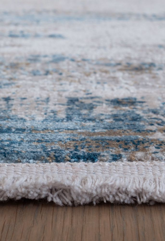 blue abstract rug fringe