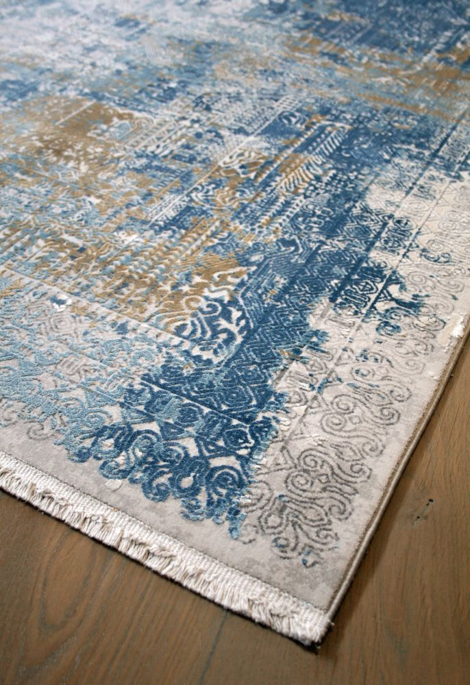 transitional style rug corner