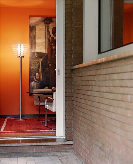 FontanaArte,Floor Lamps,architecture,brick,brickwork,building,door,floor,house,interior design,orange,property,room,wall,wood