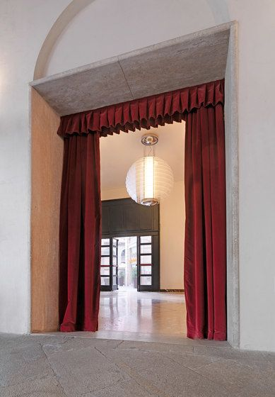 FontanaArte,Pendant Lights,arch,architecture,building,column,curtain,interior design,red,room,textile