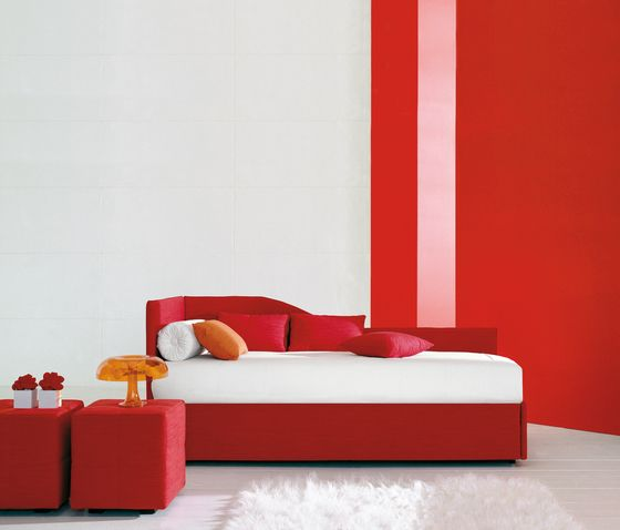 Bonaldo,Beds,bed,bedroom,couch,furniture,interior design,material property,orange,red,room,sofa bed,wall