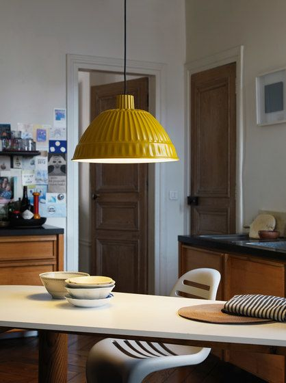FontanaArte,Pendant Lights,ceiling,dining room,furniture,home,interior design,lamp,lampshade,light fixture,lighting,lighting accessory,room,table,yellow