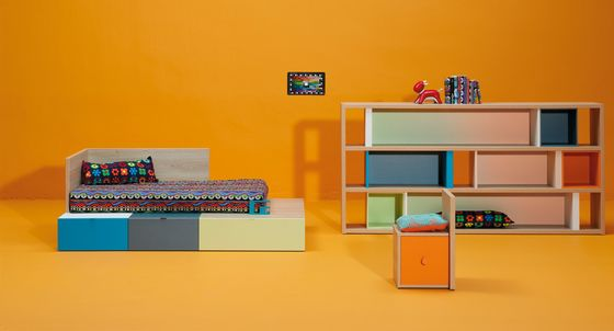 LAGRAMA,Beds,bookcase,furniture,interior design,orange,room,shelf,shelving,yellow