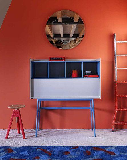 miniforms,Office Tables & Desks,blue,floor,furniture,house,interior design,majorelle blue,orange,red,room,shelf,shelving,table,wall