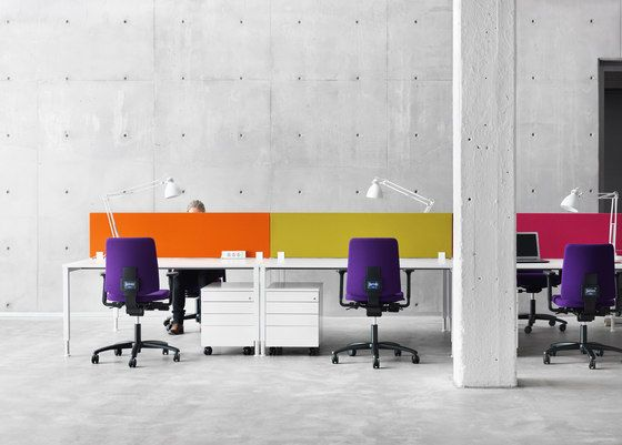 Martela Oyj,Screens,architecture,building,chair,design,desk,floor,furniture,interior design,magenta,material property,office,office chair,pink,purple,room,table,violet,wall,yellow