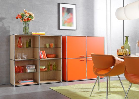 Dauphin Home,Cabinets & Sideboards,bookcase,floor,furniture,interior design,material property,orange,room,shelf,shelving,sideboard,table