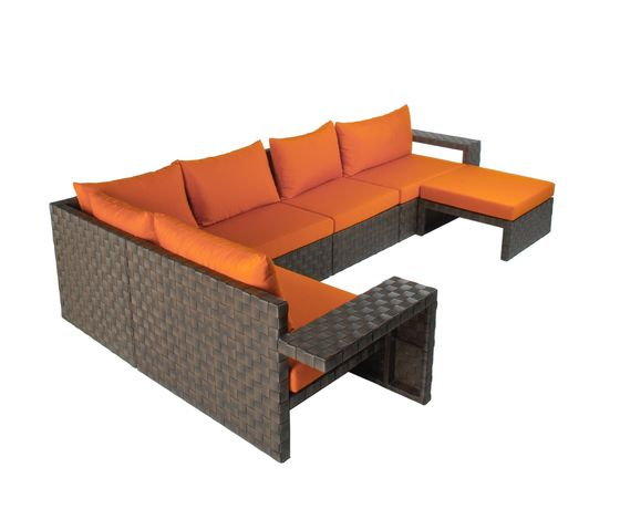 Kenneth Cobonpue,Outdoor Furniture,chair,coffee table,furniture,orange,studio couch,table,wicker