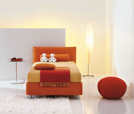 bed,bed frame,bedroom,comfort,couch,design,floor,furniture,interior design,nightstand,orange,red,room,table,yellow
