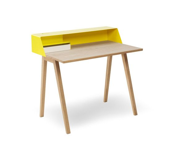 Müller Möbelfabrikation,Office Tables & Desks,desk,furniture,plywood,table,writing desk,yellow