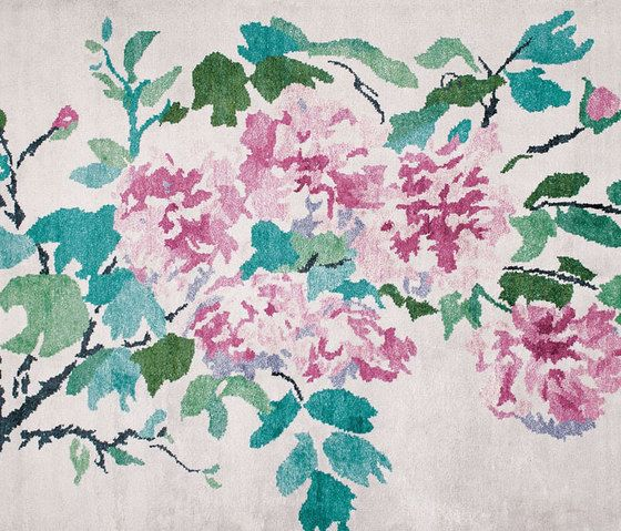 Designers Guild,Rugs,botany,design,floral design,flower,green,leaf,lilac,pattern,peony,pink,plant,textile,watercolor paint