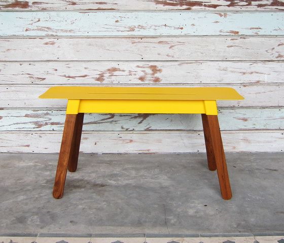 TAKEHOMEDESIGN,Benches,desk,furniture,outdoor table,stool,table,wood,wood stain,yellow