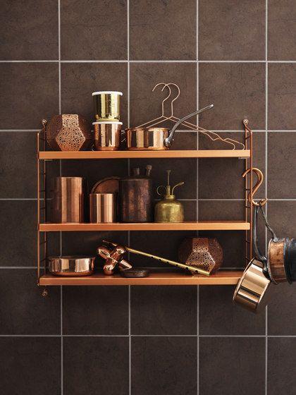 string furniture,Bookcases & Shelves,bathroom accessory,copper,furniture,room,shelf,shelving,tile,wall
