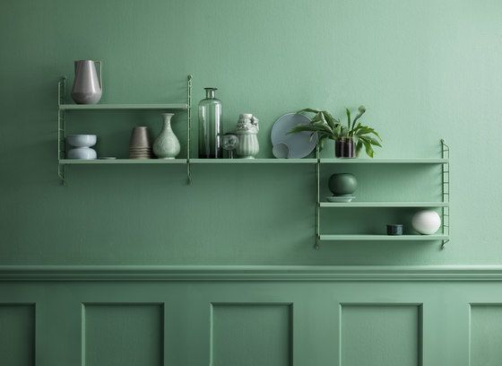 string furniture,Bookcases & Shelves,furniture,green,room,shelf,shelving,sideboard,turquoise,wall