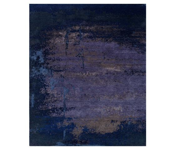 REUBER HENNING,Rugs,acrylic paint,black,blue,brown,cobalt blue,modern art,painting,purple,text,violet,wall