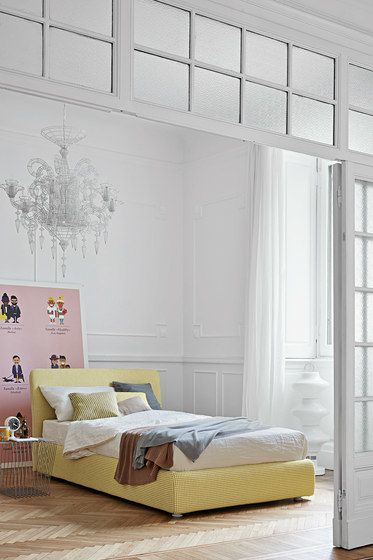 Bonaldo,Beds,bed,bed frame,bed sheet,bedroom,couch,furniture,interior design,mattress,room,studio couch,wall,yellow