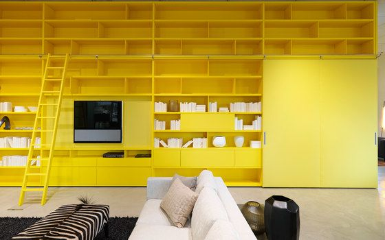 Neue Wiener Werkstätte,Bookcases & Shelves,architecture,building,ceiling,design,floor,furniture,interior design,living room,material property,orange,property,room,table,wall,yellow