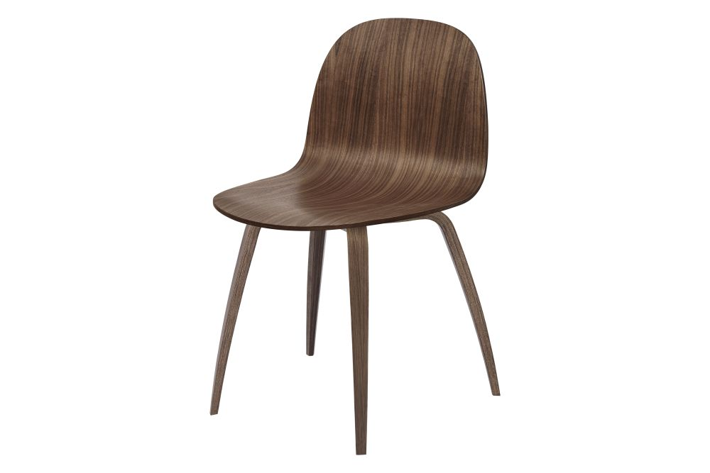 2D Dining Chair - Un-Upholstered, Wood Base by Gubi