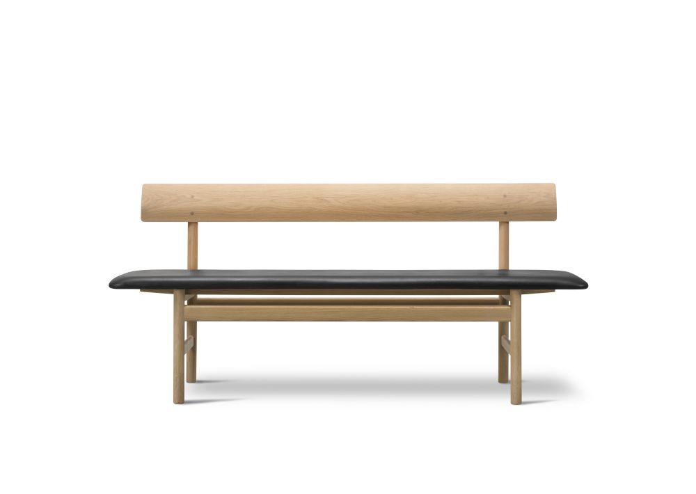 Oak Black Lacquered, Nubuck 501 Light sand,Fredericia,Benches,bench,coffee table,furniture,outdoor furniture,rectangle,table