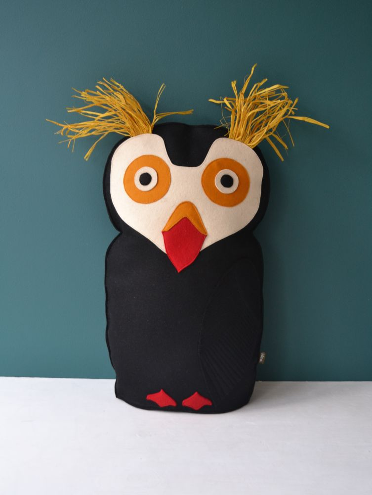 Puffin,Design by Nico,Cushions,bird,owl,stuffed toy,toy