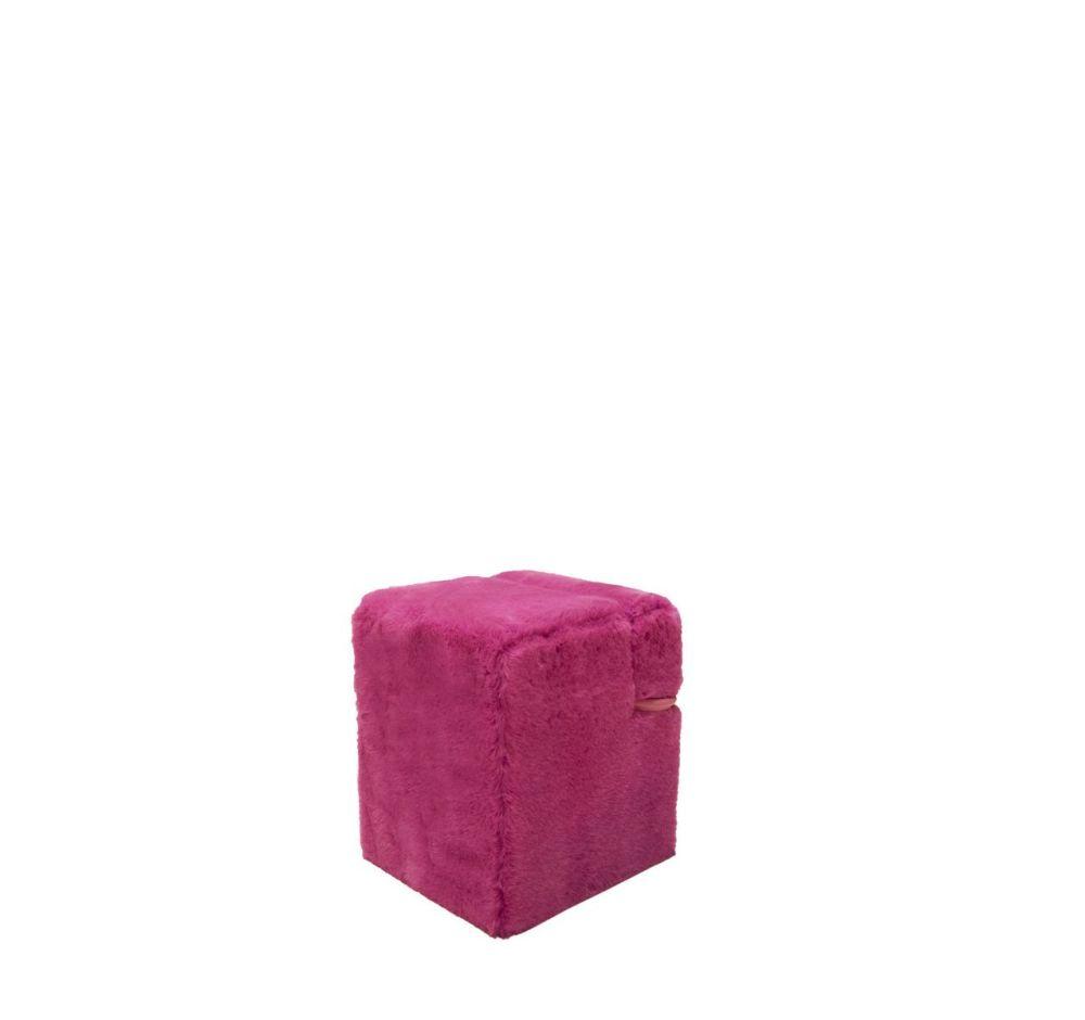 Black Mongolian Fur,Driade,Footstools,furniture,magenta,pink,purple,rectangle,violet