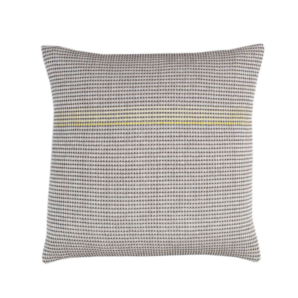 organic cotton hand embroidered yellow square,WAFFLE DESIGN ,Cushions,beige,brown,cushion,furniture,linens,pattern,pillow,textile,throw pillow,yellow