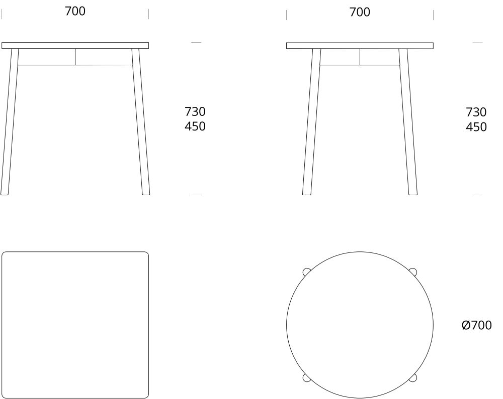 Elm Natural Oil, 70 x 73,Nikari,Coffee & Side Tables,diagram,line,text