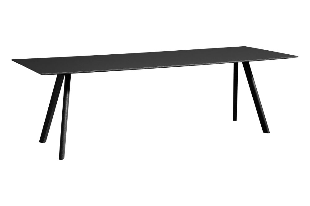 Linoleum Black / Wood Black Oak, 200 x 90 cm,Hay,Dining Tables,desk,furniture,line,outdoor table,rectangle,sofa tables,table