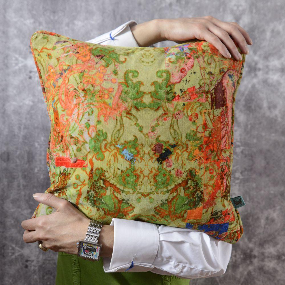 Elizabeth scatter cushion,Blackpop,Cushions,design,green,linens,orange,pattern,textile,yellow
