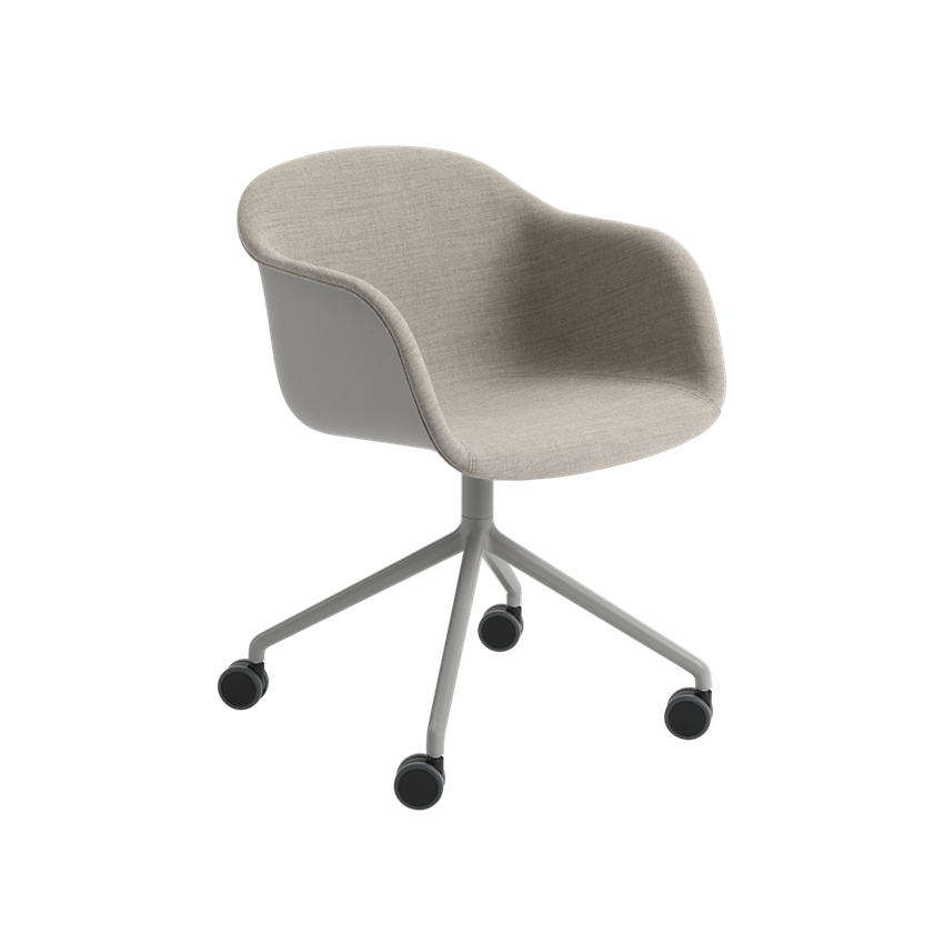 Fiber Armchair Front Upholstery - Swivel Base with Castors by Muuto
