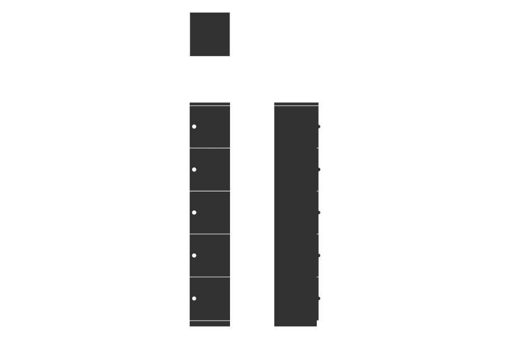 HotLocker Forte 5 High Large, Flush Keylock MFC 3,Spacestor,Lockers,font,line