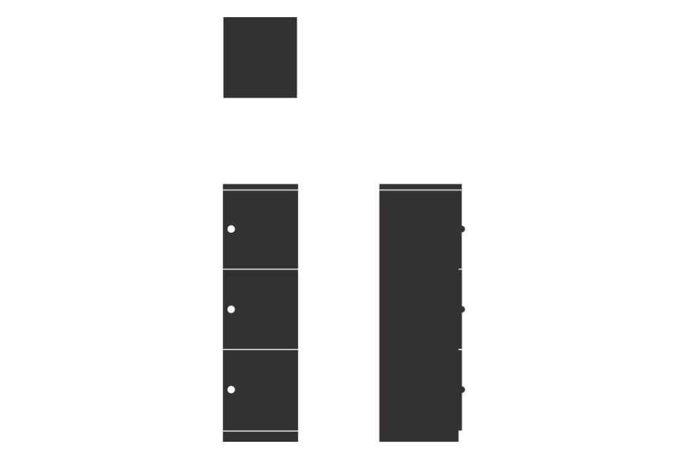 HotLocker Signature 3 High Small, Flush Keylock MFC 1,Spacestor,Lockers,font,rectangle