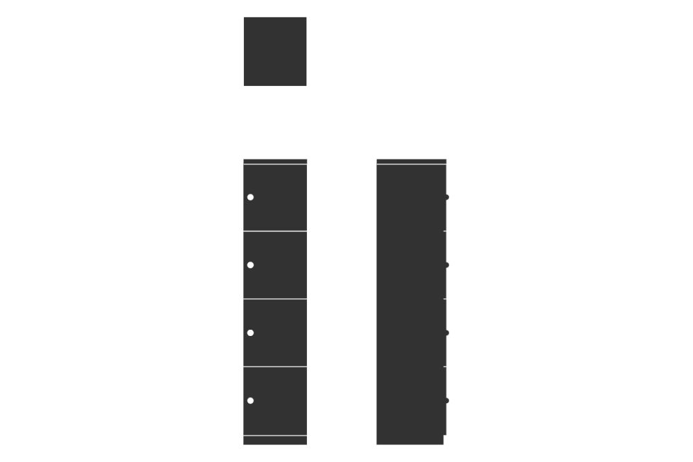 HotLocker Signature 4 High Small, Flush Keylock MFC 1,Spacestor,Lockers,font,line