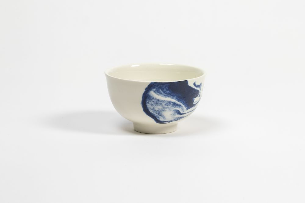 Indigo Storm Handleless Cup,1882 Ltd,Bowls & Plates,blue and white porcelain,ceramic,coffee cup,cup,drinkware,egg cup,porcelain,serveware,tableware,teacup
