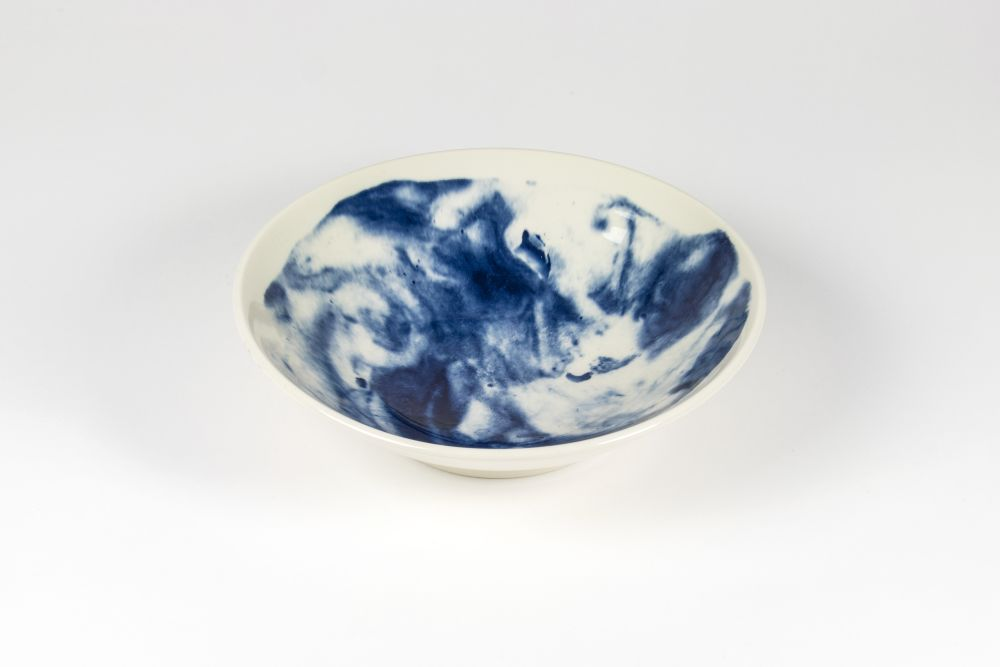 Indigo Storm Medium Serving Bowl,1882 Ltd,Bowls & Plates,blue,blue and white porcelain,bowl,ceramic,cobalt blue,dishware,earthenware,plate,porcelain,tableware