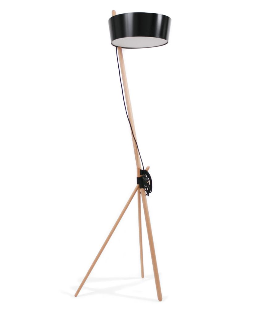 Black with leather tray,WOODENDOT,Floor Lamps,camera accessory,lamp,light fixture,lighting,tripod