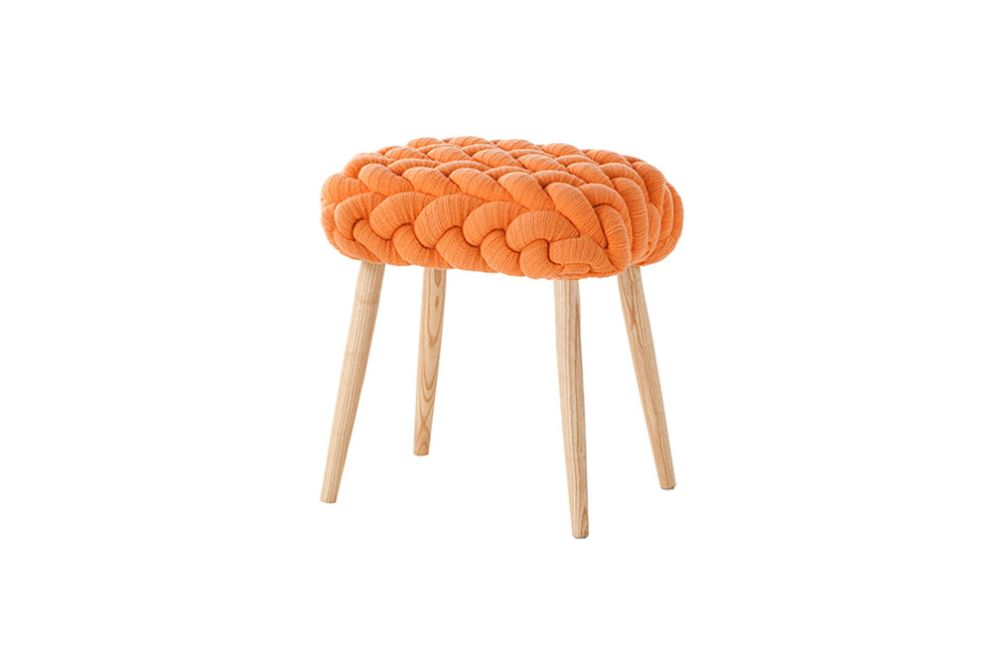Knitted Stool Orange by GAN