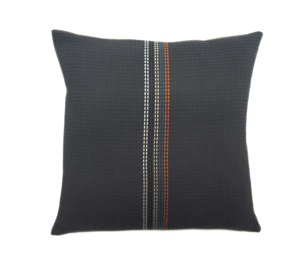 organic cotton hand embroidered navy stripe square,WAFFLE DESIGN ,Cushions,brown,cushion,furniture,linens,pillow,throw pillow
