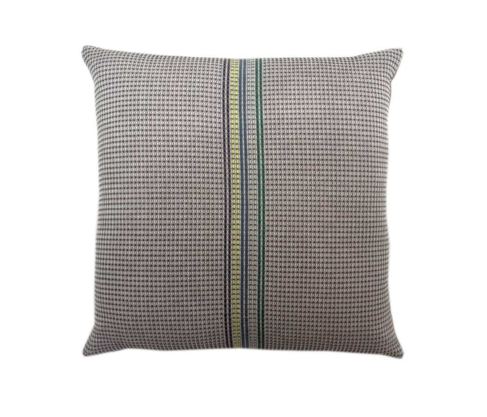organic cotton hand embroidered charcoal stripe square,WAFFLE DESIGN ,Cushions,beige,brown,cushion,furniture,green,linens,pillow,textile,throw pillow