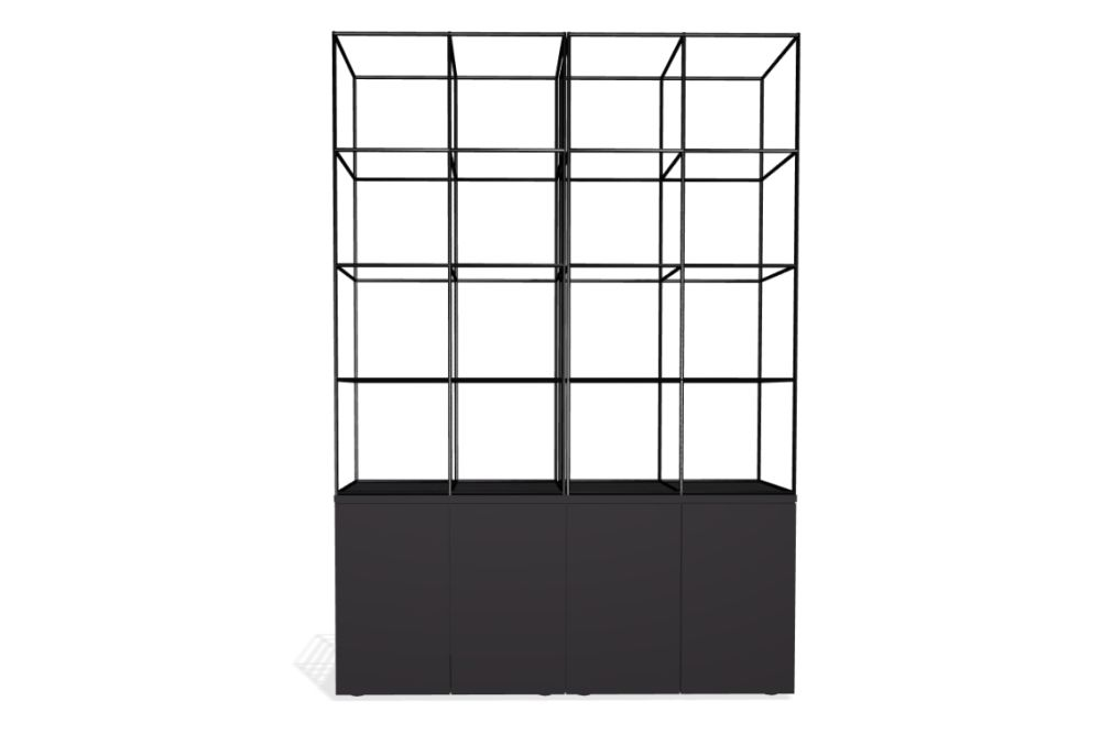 Palisades Grid - 4 Wide 3-High 7.3-base,Spacestor,Workplace Cabinets & Shelving,architecture,shelf