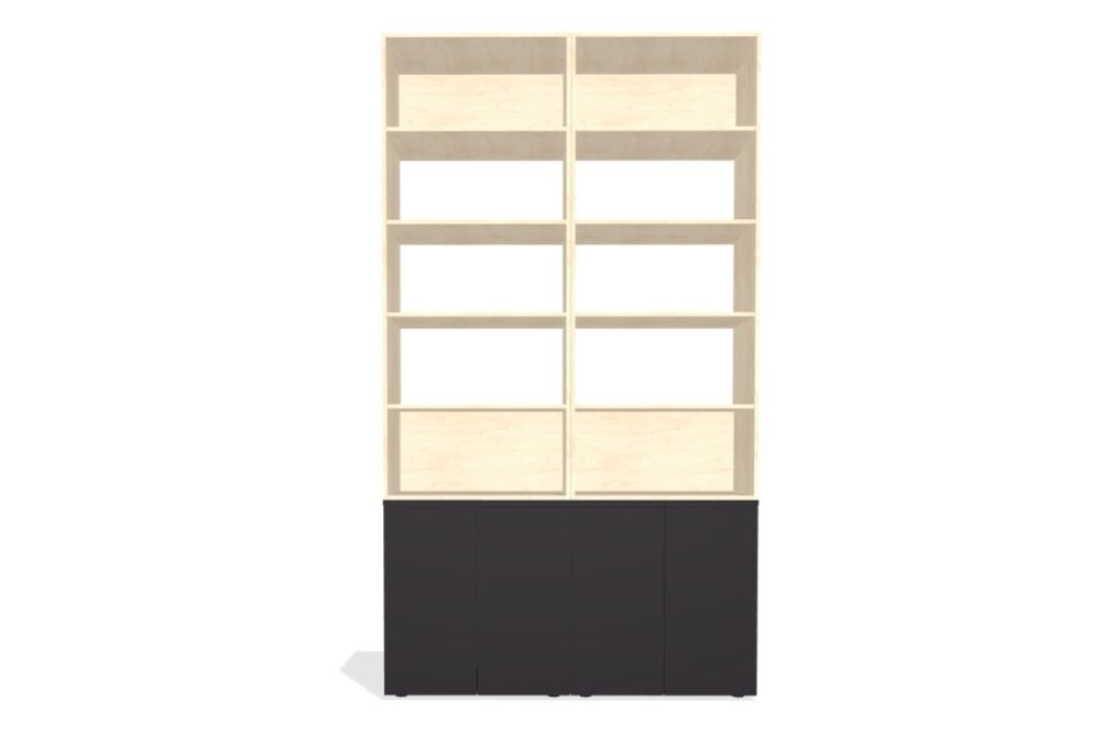 Palisades Wood - 4 Wide 5-high 86.5-base MFC 4,Spacestor,Workplace Cabinets & Shelving,beige,bookcase,cupboard,display case,furniture,shelf,shelving