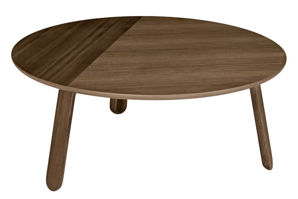 Gubi Wood American Walnut, Ø80,GUBI,Coffee & Side Tables,coffee table,end table,furniture,outdoor table,plywood,table,wood,wood stain
