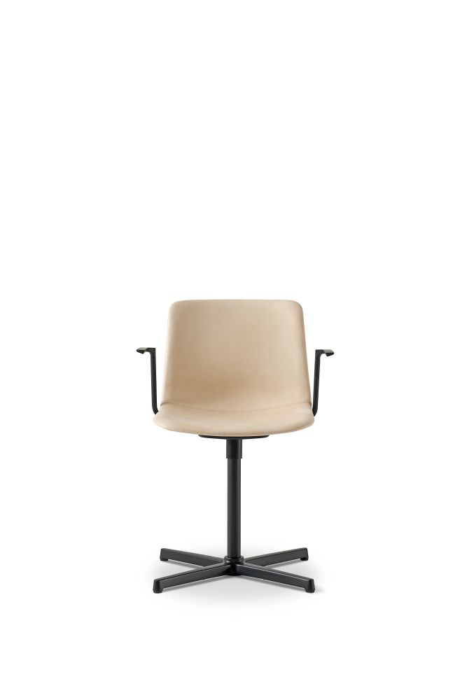 Chrome Steel, Remix 2 143,Fredericia,Seating,beige,brown,chair,furniture,office chair