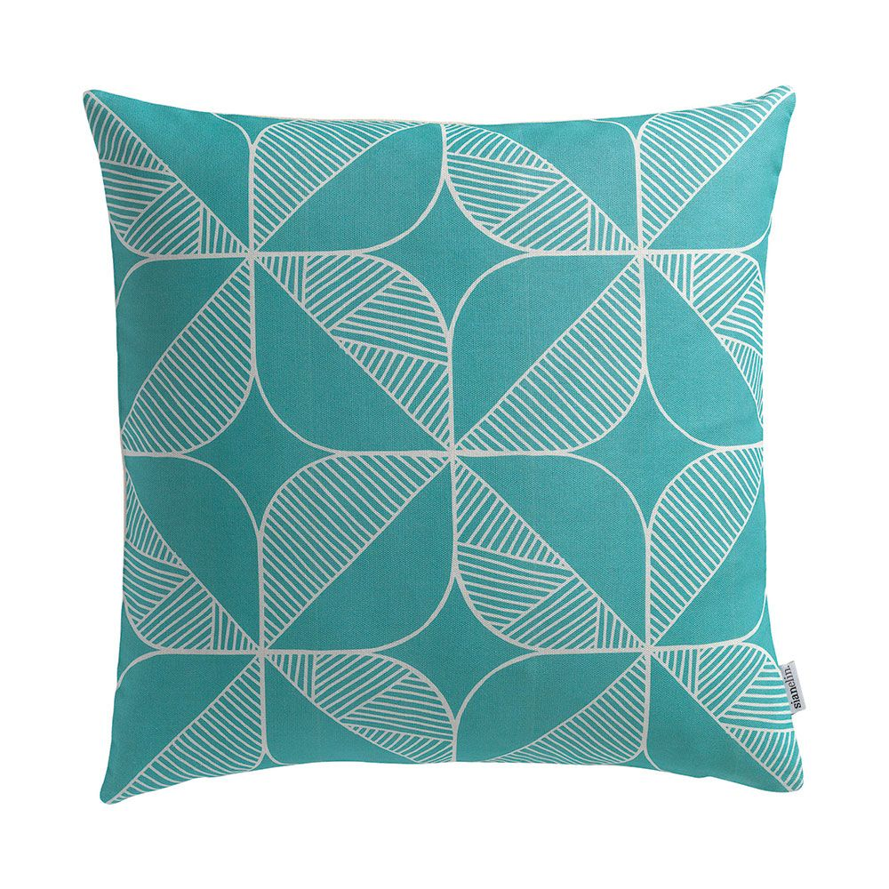 Cushion + Pad,Sian Elin ,Cushions,aqua,cushion,design,furniture,green,leaf,pattern,pillow,rectangle,teal,textile,throw pillow,turquoise