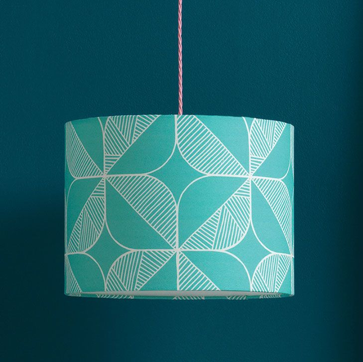 Rosette Lampshade,Sian Elin ,Pendant Lights,aqua,circle,design,green,pattern,teal,turquoise