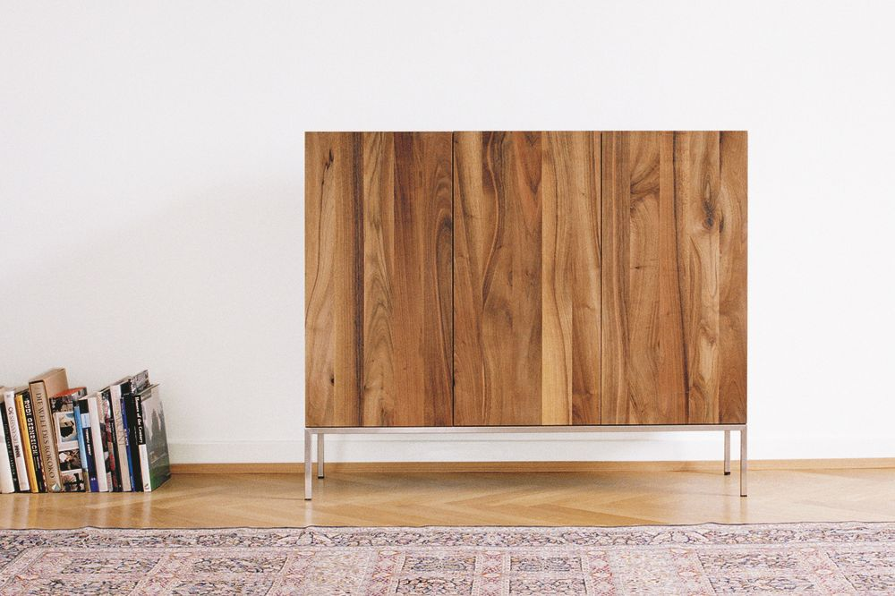 Oiled Oak, Stainless Steel Structure, Short,e15,Cabinets & Sideboards,cupboard,floor,flooring,furniture,hardwood,plywood,product,room,shelf,sideboard,table,wood