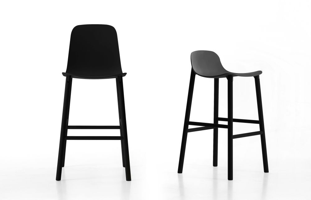 Sharky Alu Stool Lowback - Aluminium Base With Seat Upholstery by Kristalia